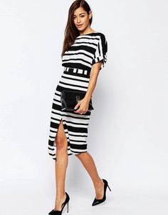 ASOS | ASOS Split Front Wiggle Dress in Graduated Stripe at ASOS