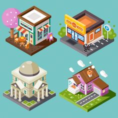 Vector: Pretty nice city isometric buildings isolated: nice street cafe with fancy-looking tree, supermarket with parking, library, nice home building with garage. Isometric Map, Isometric Drawing, Isometric Design, Building Illustration, City Illustration, City Vector, Vector Art, Vector Illustrations, Art Isométrique