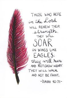 Feather painting scripture quote Isaiah 40:31 by CraftyStx on Etsy