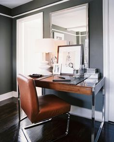 The Decorista-Domestic Bliss: Office space of the day...glamorous grey