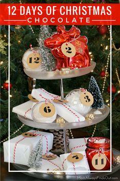 Celebrate every day leading up to Christmas with this DIY 12 Days of Christmas Chocolate Gifts Tower. @chocolatfreyna  #FreyHoliday #ChocolatFrey sponsored