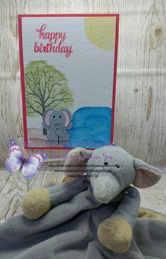 Elephant Punch Art Birthday card  #foxbuilderpunch  #shelteringtree  #watercolourpencils #stampinup  #stampinupdemonstrator #stampcreationswithmunchkin