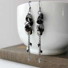 Gunmetal Gray and Black Swarovski Beaded Waterfall Earrings by belleonabudget on Etsy, $10.00 #handmade #linear #flapper #long