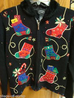 UGLY Xmas Sweaters Tacky Christmas FUR Sweater Contest SMALL S Black Sequins #uglysweaters http://www.ugliestholidaysweaters.com
