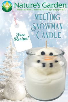 Free Melting Snowman Candle Recipe by Natures Garden. Pillar Candles, Candle Jars, Types Of Wax, Melted Snowman, Soap Supplies, Homemade Candles, How To Make Homemade, Candle Making, Fragrance Oil