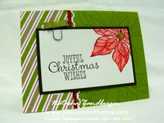 Stamps – Joyful Christmas, Ink & Paper – Old Olive, Whisper White, Cherry Cobbler, red glimmer paper, Season of Style DSP