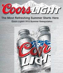 Coors Light Summer 2013 Sweepstakes Coors Light Summer 2013 Sweepstakes