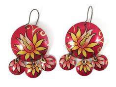 Colorful Earrings Recycled Tin, Red, Yellow and Pink Floral  Gypsy Earrings by TinMoonJewelryworks on Etsy.  $40.