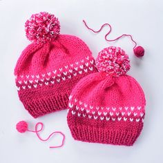 Mommy and me beanies in hot pink and fuchsia.😍 www.kbeanies.com