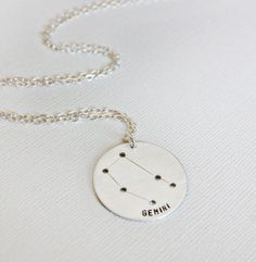 Sterling Silver Gemini Necklace - Gemini Constellation Jewelry - Astrological Sign Necklace, Zodiac Sign