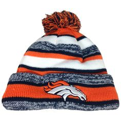 3c22386e0df New Era On field Sport Knit Denver Broncos Game Hat Navy Orange White Size  One Size Worn on sideline Made by New Era acrylic Embroidered graphics  Fleece ...