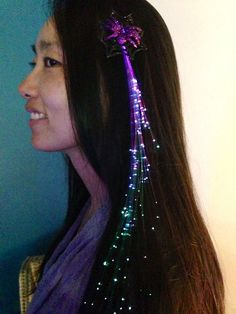 Fiber optic hair lights hot glue decorative appliqus on top of peacock colors light up fiber optic hair streaks from fbl added my own glitter spider decoration to the clip last halloween just use hot glue pmusecretfo Images
