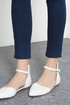 Shoes | White  POINTY BALLET PUMPS | Warehouse