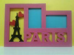 Porta retrato doble con torre eifeel, corazones y PARIS. Letras, nombres, numeros, figuras, logos, en mdf, contacto 04121392985.