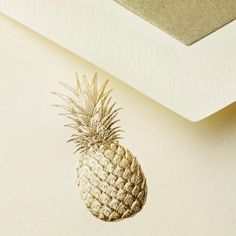 Gold Pineapple Embossed Notecards