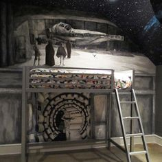 Star Wars Bedroom painted mural, Furniture Design Ideas, Pictures, Remodel, and Decor