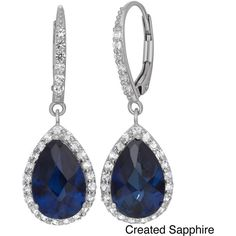 Gioelli Sterling Silver Created Gemstone White Sapphire Accented... ($144) ❤ liked on Polyvore featuring jewelry, earrings, blue, pear earrings, earring jewelry, clasp earrings, sterling silver long earrings and long earrings