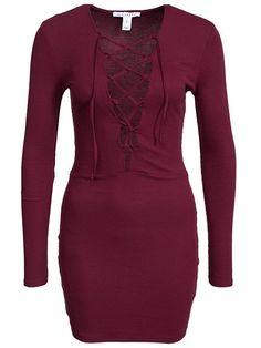Lace Up Dress - Nly Trend - Burgundy - Festklänningar - Kläder - Kvinna - Nelly.com