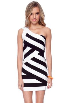 Y Not Bandage Dress in White and Black
