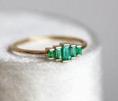 Baguette Emerald Ring, Art Deco Emerald Engagement Ring, Baguette Engagement Ring with genuine emeralds – Art Deco Engagement Ring Baguette Engagement Ring, Baguette Ring, Deco Engagement Ring, Engagement Ring Settings, Vintage Engagement Rings, Art Deco Emerald Ring, Emerald Ring Vintage, Jewelry Rings, Fine Jewelry