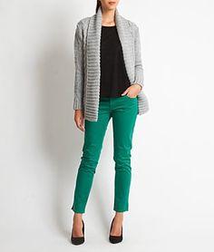 Gilet grosse maille gris et pantalon vert