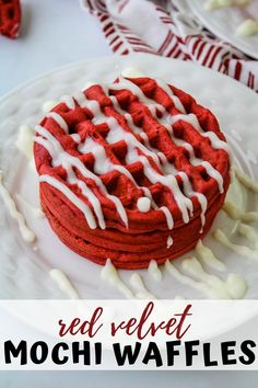 This easy scratch made red velvet mochi waffle recipe will have you coming back for seconds. Chewy interior with just the right crunchy exterior, vibrant red hues, and a drizzle of cream cheese make this your ultimate breakfast go to. Mochi Waffle Recipe, Mochi Recipe, Bisquick Recipes, Waffle Recipes, Cake Recipes, What Is Mochi, Cake Decorating Amazing, Red Velvet Waffles, Recipes