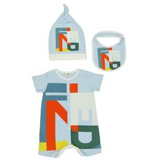 Baby Boys Blue Baby Grow, Bib and Hat Gift Set with Letter Print. Available now at www.chocolateclothing.co.uk