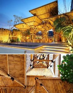 The form of an umbrella served as the basis of inspiration for the bamboo structures that make up the Outdoor Japanese Noodle Restaurant in Jakarta. Designed to be temporary and simple to disassemble, the bamboo umbrellas overlap each other to become one big roof, protecting guests from sun, wind and rain. Rainwater is diverted through bamboo 'gutters', poured into the ground through a pipe in the middle of the structure.