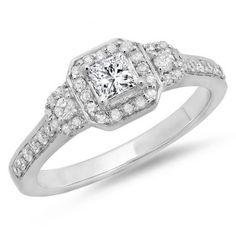 0.75 Carat (ctw) 18K White Gold Princess & Round Cut Diamond Ladies Bridal 3 Stone Halo Engagement Ring 3/4 CT - Dazzling Rock
