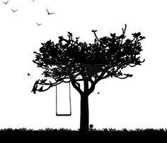 Balancez dans le parc ou le jardin en silhouette de printemps