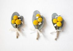 Billy Ball Boutonniere-Yellow and Gray Wedding-Mens Wedding Boutonniere-Dried Flower Boutonniere-Grooms Lapel Pin-Mens Buttonhole