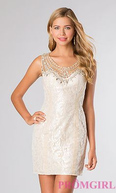 Fitted Short Lace Dress with Sheer Back by Rachel Allan 2815 at PromGirl.com