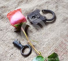 A padlock with a pink rose stock photo. Image of love - 111982652 Old Love, Love Images, Composition, Concept, Key, Stock Photos, Feelings, Search, Rose