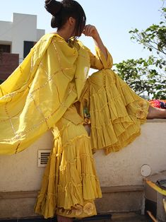 Yellow Cotton Gota Work Dupatta