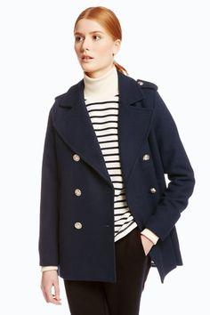 Manteau femme, automne-hiver 2015-2016. Caban en drap de laine, Petit Bateau, 199 euros.