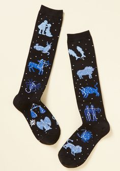 Zodiac on the Floor Socks. Dance like youve never danced before by slipping into these black socks! #black #modcloth