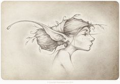 a faery portrait of Laureletta the wee wild forest faery illustrated by the Picsees.