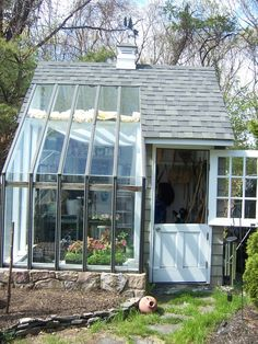 Potting Shed. Love the split door. What a great idea to join a shed and a greenhouse together. Or a greenhouse, shed, chicken coop combo. Garden Cottage, Home And Garden, Garden Bed, Verge, Greenhouse Gardening, Greenhouse Ideas, Small Greenhouse, Greenhouse Wedding, Backyard Greenhouse