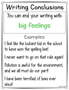 Are your students having a hard time ending their personal narrative or expository writing pieces? These writing conclusions anchor charts are helpful with providing a variety of ways to close their writing for their reader! Get 16 different ways to end your writing in an interesting and intriguing way! #writingworkshop #anchorcharts #writingconclusions #narrative #expository #conclusions Expository Writing, Paragraph Writing, Book Writing Tips, English Writing Skills, Writing Strategies, Narrative Writing, Expository Conclusions, Writing Words, Writing Lessons