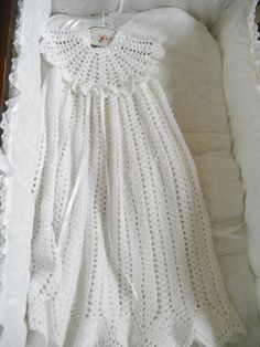 Baby Crocheted Gown Ruffled Clothing Newborn by ThePoshBabyShoppe, $85.00