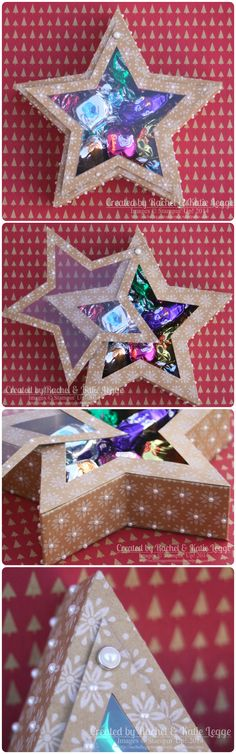 Stampin' Up! Many Merry Stars Kit Star Box With Brad-Hinge Opening ~ Detailed Instructions In Link | Christmas Treat Box | Created by Rachel Legge  http://rachelleggestampinup.wordpress.com/2014/12/31/many-merry-stars-alternative-star-box-with-brad-hinge-opening/