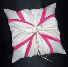 Use coupon code  PINITFREESHIP for FREE shipping! White or Ivory Wedding Ring Bearer Pillow Fuchsia Hot Pink Accent by Jessicasdaydream