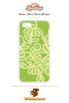 An Alternative Floral Design on Green phone case available for all phone makes and models and can be personalised and purchased from www.mrnutcase.com