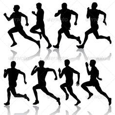 Buy Set of Silhouettes. Runners on Sprint, Men by aarrows on GraphicRiver. Set of silhouettes. Runners on sprint. Running Silhouette, Silhouette Art, Kunst Portfolio, Running Drawing, People Running, Marathon Runners, Comic Styles, Stencil Art, Sports Art