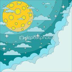 Полная луна на фоне ночного неба, векторной иллюстрации — Stock Illustration #62873583