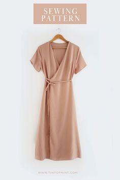 Dress Sewing Tutorials, Dress Sewing Patterns, Sewing Patterns Free, Clothing Patterns, Free Dress Sewing Pattern, Easy Dress Pattern, Apron Patterns, Sewing Diy, Blanket Patterns
