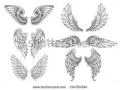 Conjuntos de asas heráldicas para tatuagem ou design de mascote. Versão em JPEG também disponível na galeria