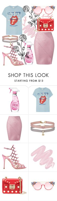 """""""The Rolling Stones"""" by karilooks ❤ liked on Polyvore featuring Moschino, MadeWorn, Miss Selfridge, Schutz, Obsessive Compulsive Cosmetics and SALAR"""