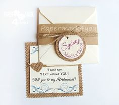 Items similar to Real Burlap Will You Be My Bridesmaid_ Country Bridesmaid Card_ Rustic Bridesmaid/Maid_Will You Be my Bridesmaid/Maid/Matron_Floral Card on Etsy Bridesmaid Cards, Personalized Tags, Wedding Pins, Will You Be My Bridesmaid, Rustic Invitations, Card Sizes, Envelope, Burlap, Place Card Holders