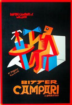 Fortunato Depero, Beverage Poster, Italy, ca. 1995